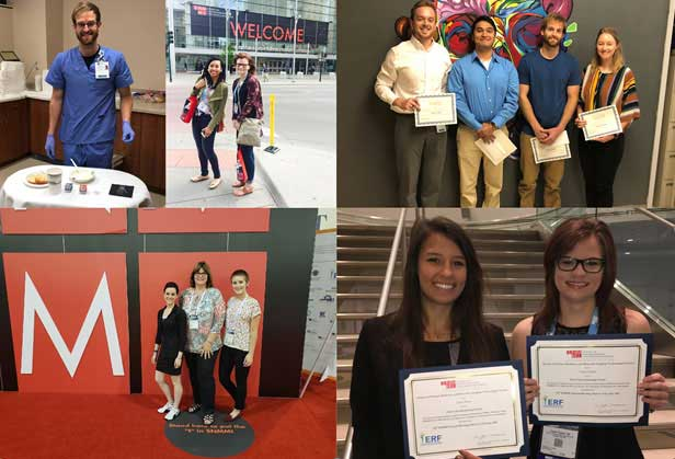 Collage of students with awards, scholarships and at the annual Society of Nuclear Medicine and Molecular Imaging meeting.